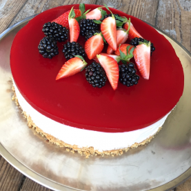 Cheesecake med hindbærgele