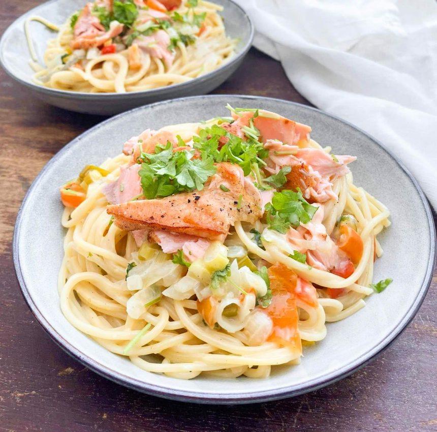 Opskrift på lakseret med pasta