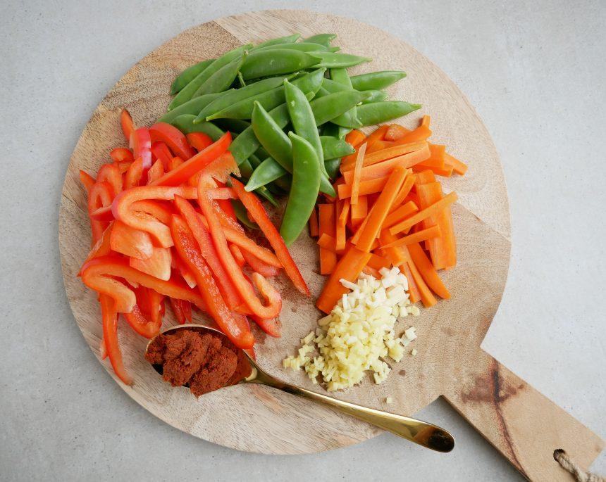 Snittede grøntsager