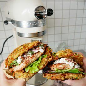 rösti sandwich med kylling og hytteost