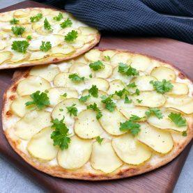 tortilla pizza med kartoffel