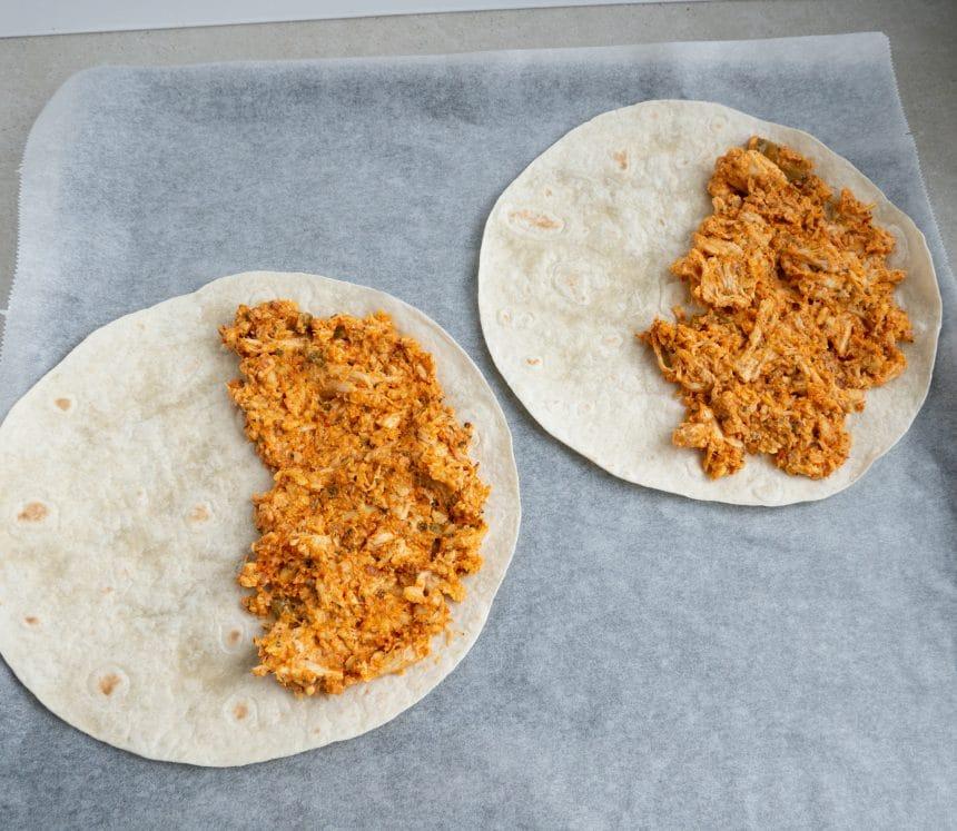 Opskrift på bagte quesadillas med kylling
