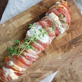 Opskrift på fyldt mørbrad med bacon