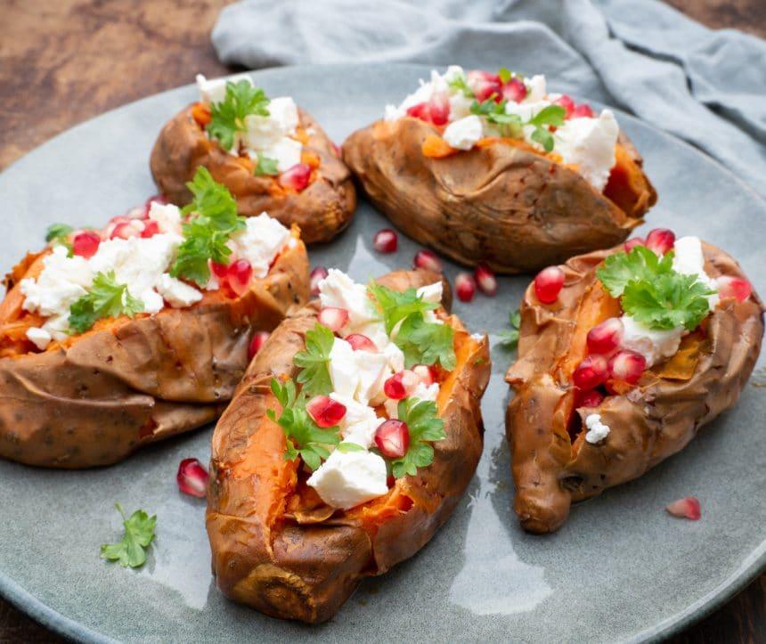Opskrift på søde kartofler med feta