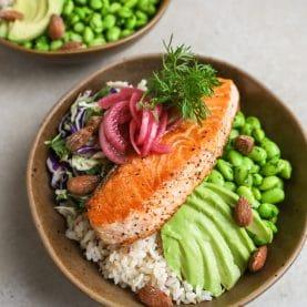 Opskrift på bowls med laks og ris