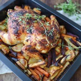 Hel kylling i ovn med grønt