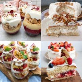 desserter med frugt og makroner